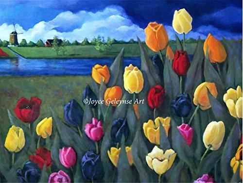 Tulips, Dutch Landscape, Art Print, Colorful Flowers, Windmill, Holland, 8