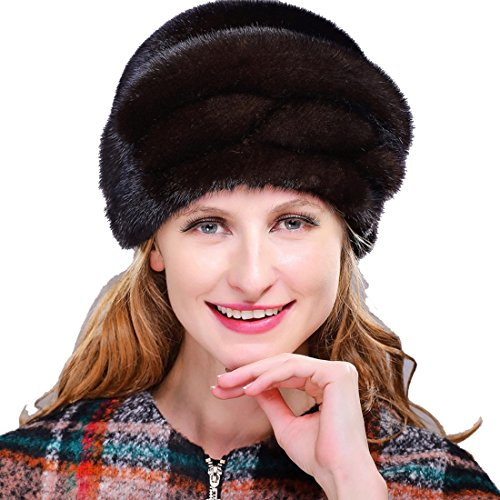 URSFUR Mink Fur Roller Hat with Mink Fur Top (One Size, Coffee) by URSFUR