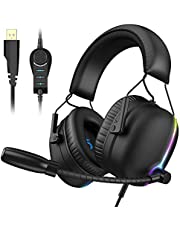 VersionTECH. 7.1 USB PC PS4 Gaming Headset,RGB Illumination Gamer Headphone with ENC Dual Noise Canceling Microphone,4D Sound (3D+Vibration),6 Speakers for Mac Desktop Computer,Laptop (Black)