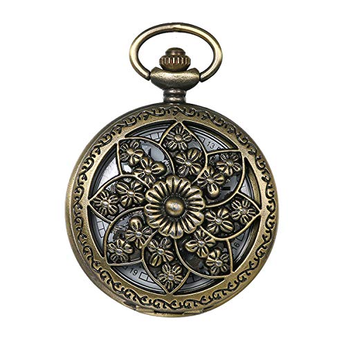 JewelryWe Retro Bronze Flower Openwork Cover Quartz Pocket Watch with 32.3 Inch Chain from JewelryWe