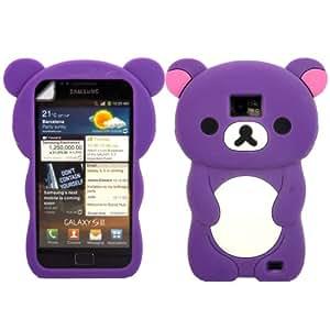 Teddy Silicona Cubrir Caso Piel Y Pantalla LCD De Guardia Para Samsung Galaxy S2 i9100 / Purple