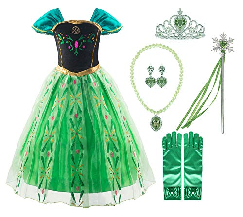 Padete Little Girls Anna Princess Dress Elsa Snow Party Queen Halloween Costume (6 Years, Green with 02Accessories)