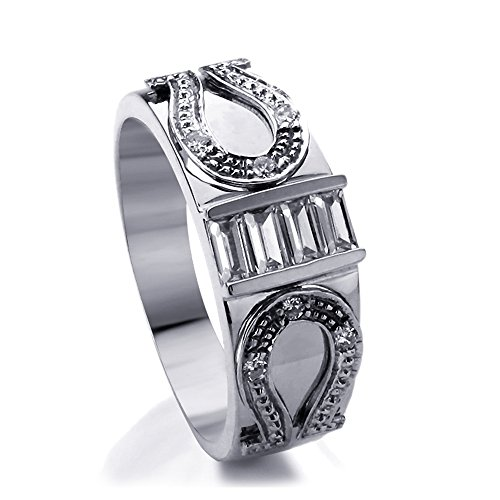 14K White Gold Baguette CZ Horse Shoe Design Wedding Band (Size 7 to 11), 10.5