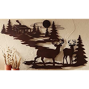 Deer and Lodge in Woodlands Metal Wall Art By Cabin Ironworks - Rustic Mountain Country Home Decor- Silhouette Depiction of a Pine Tree Forest, Clouds, Sun, and a Pair of Majestic Bucks.