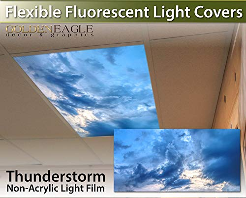 Thunderstorm - 2ft x 4ft Drop Ceiling Fluorescent Decorative Ceiling Light Cover Skylight Film - Thunder Storm Clouds