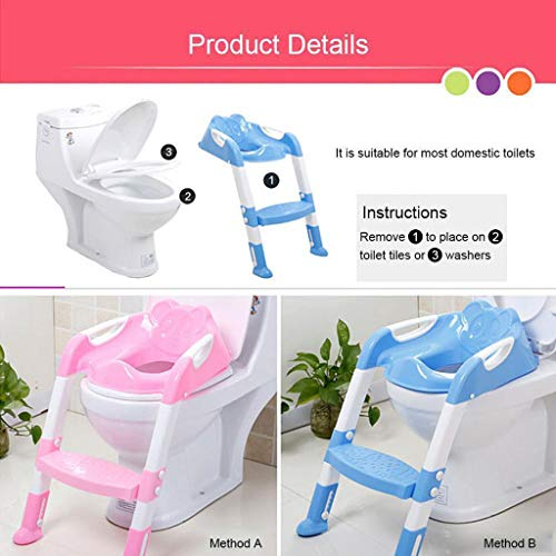 Baby Potty Toilet Training Seat by HP95, Folding Toddlers Bathroom Training Chair Cover for Toilet - Boys & Girls Toilet Training Seat Ladder with Wide Step (A, Blue) by HP95_Baby Supplies (Image #4)