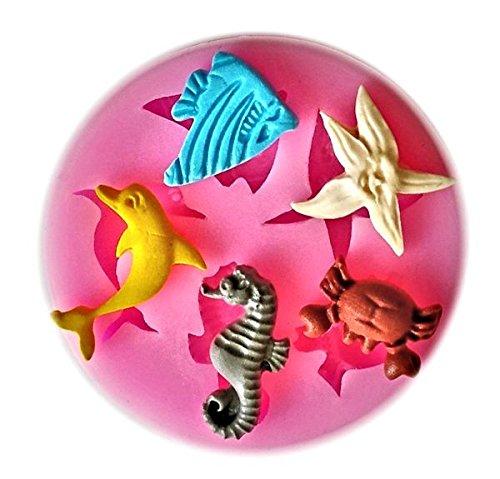 Dolphin Crab Fish Seahorse Starfish Silicone Mold for Fondant Crafts Chocolate Gum Paste Sea Creatures
