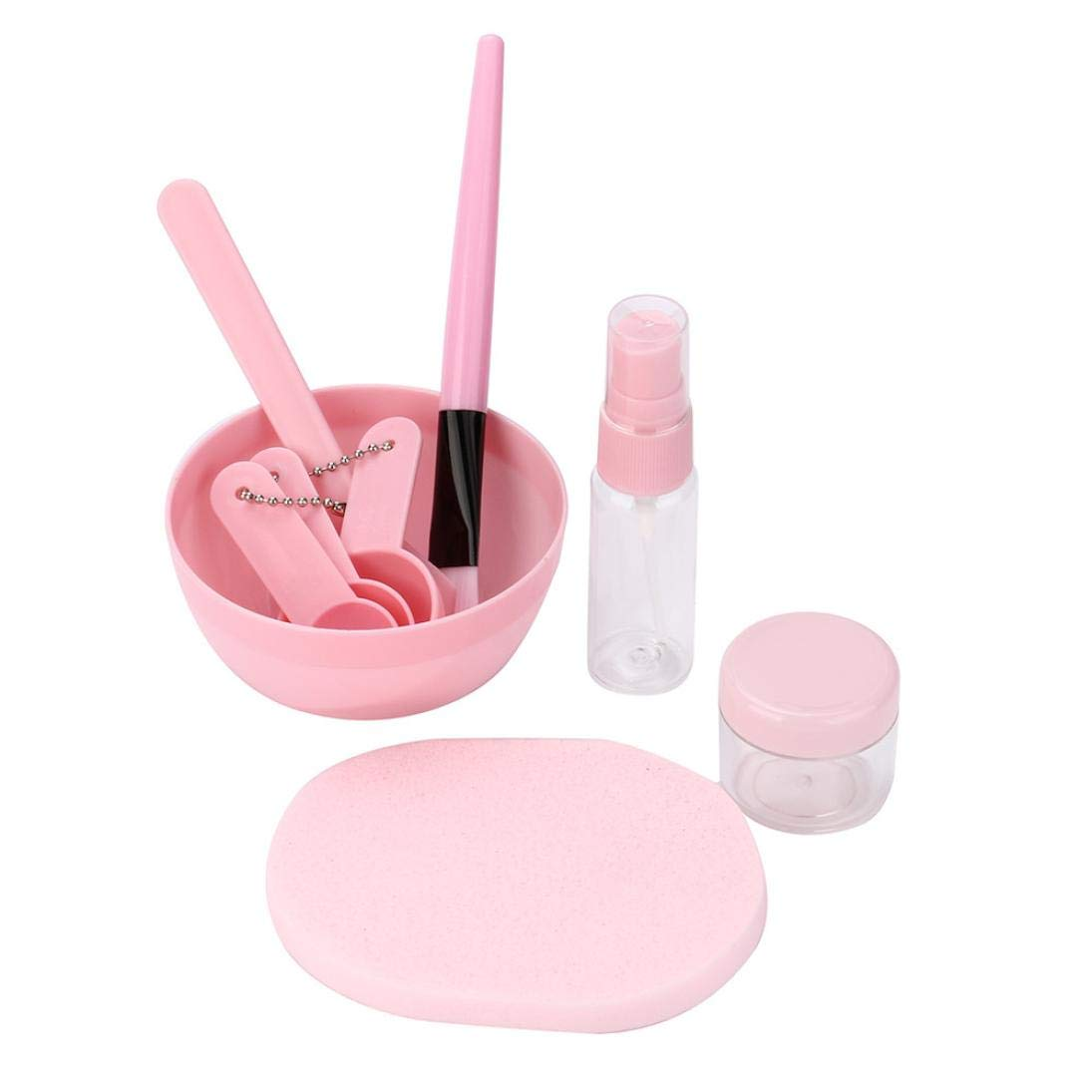 ❤JPJ(TM)❤️_Hot sale 1 Set 9 in 1 Fashion Mixing Bowl Brush Spoon Stick Makeup Beauty Set for Facial Mask Tool (Pink)