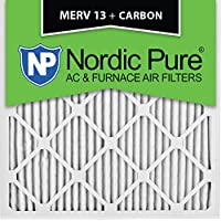 Nordic Pure 12x12x1M13+C-12 MERV 13 Plus Carbon AC Furnace Air Filters, Qty-12