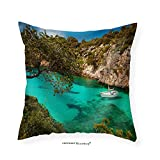 VROSELV Custom Cotton Linen Pillowcase Small Yacht Floating in Azure Sea in the Village Cala Pi Majorca Spain - Fabric Home Decor 28''x28''