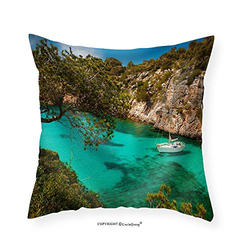 VROSELV Custom Cotton Linen Pillowcase Small Yacht Floating in Azure Sea in the Village Cala Pi Majorca Spain - Fabric Home Decor 28''x28'' by VROSELV