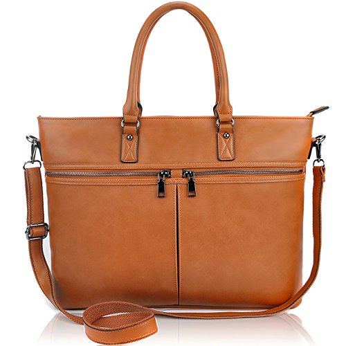 "Laptop Tote Bag,Women Business Laptop Bag Up to 15.6 Inch,Solid Reliable 1"" Wide Strap for Everyday Carring with Large Capacity [L0015/brown]"