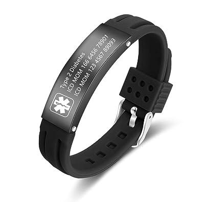 LanM Free Engraving Medical Bracelets for Mens Womens Sport Emergency  Diabetes Bracelets Womens 9 Inch Adjustable Silicone Medical Alert ID  Bracelets