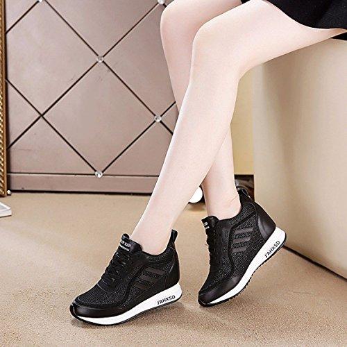 Deportes En GTVERNH Tacon De Dentro Es black Alta Agujero Pendiente Hembra Delgada Moda Zapatos Transpirable Mujer Los de Verano De Salvaje Zapatos Redondo Zapatos De Cabeza rtFrS
