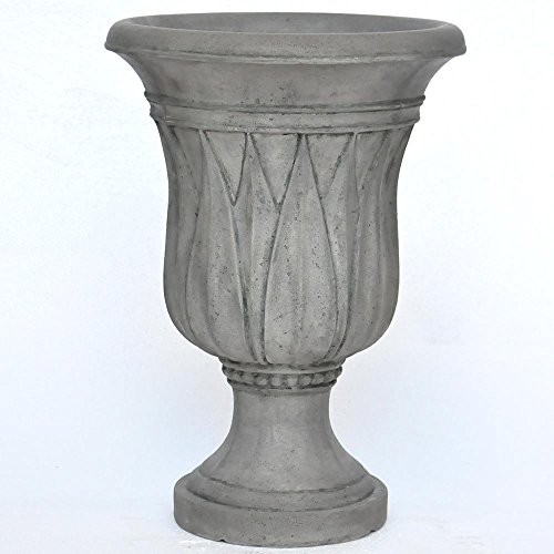 MPG 21 in. H. Granite Cast Stone Sharp Leaf Urn