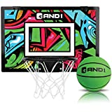 AND1 Over The Door Mini Hoop: Easy to Install Portable Basketball Hoop with Steel Rim, Includes Mini Basketball, Indoor Game Set for Children and Adults