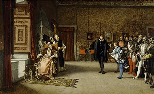 The High Quality Polyster Canvas Of Oil Painting 'Rosales Gallina Eduardo Juan De Austria's Presentation To Emperor Carlos V In Yuste 1869 ' ,size: 10 X 16 Inch / 25 X 42 Cm ,this Reproductions Art Decorative Prints On Canvas Is Fit For Bathroom Decor And Home Decoration And Gifts (Rainbow On Stage Deluxe Edition)