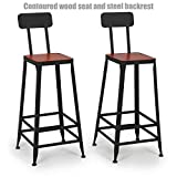 Vintage Industrial Style Metal Frame Office School Restaurant Dining Chair Indoor Outdoor Furniture - Set of 2 Tan #1071