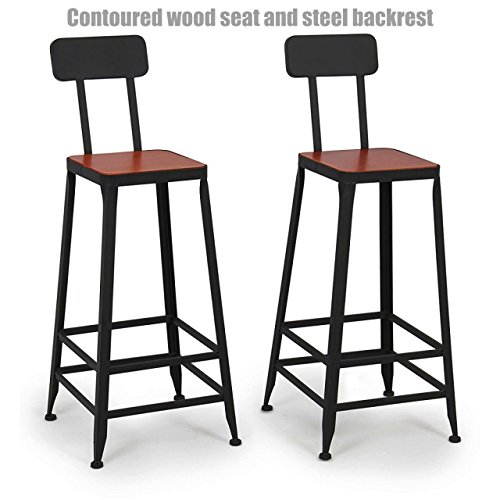 Vintage Industrial Style Metal Frame Office School Restaurant Dining Chair Indoor Outdoor Furniture - Set of 2 Tan #1071 (Patio Toronto Outdoor Restaurants)