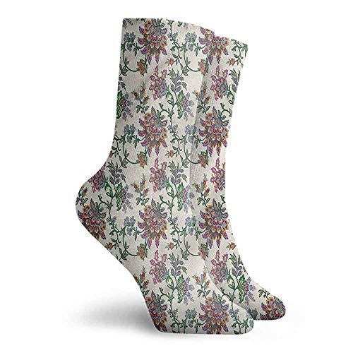Novelty Socks for Men and Women Bohemian Retro Flowers Work Socks
