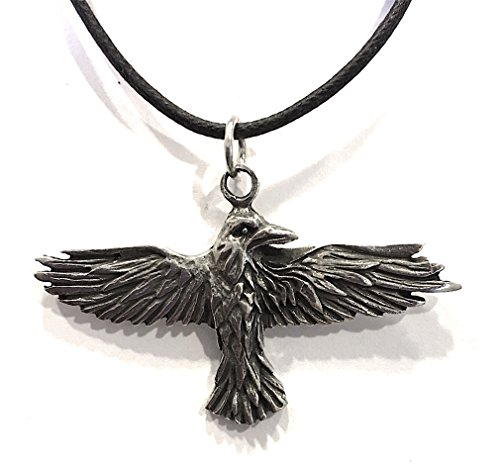 Raven Celtic Prophesy Morrigan Bird Pewter Pendant Costume Charm Necklace