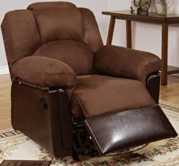 Poundex PDEX-F6683 Bobkona Rocker Recliner in Chocolate Microfiber, Black