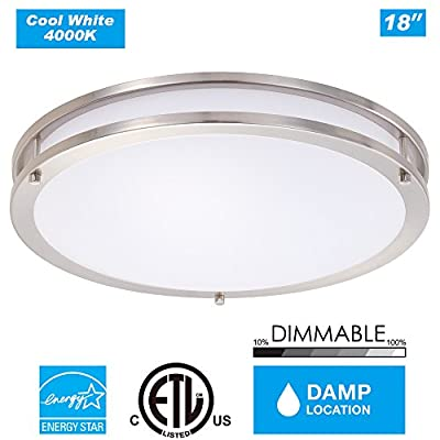 Cloudy Bay 18-inch Large DCO1828840BN 4000K Cool White Dimmable 28W 2000lm LED Flush Mount Ceiling Fixture -250W Incandescent Equivalent, ETL Energy Star LED Saturn Flush Mount , Brush Nickel