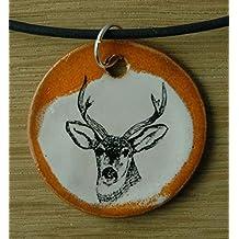 Orginal handicraft: deer; Milu, axis deer, chital, Mane deer, Rusa, hunter, jewellery, jewelry, handcrafted necklace, best gift, art, ceramic