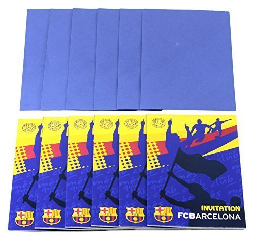 Official Barcelona Soccer Football Club FC Barcelona 6 Pack of Party Invites & Envelopes