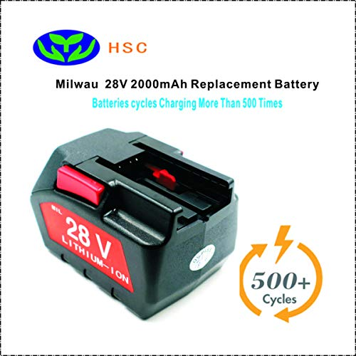 2000mAh 18650 Battery Pack Mil28A Lithium ion Battery 28V Replacement for Milwaukee M28 V28 0726-22 0780-20 Battery Pack