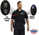 First Class Poly/Cotton 60%/40% Tactical Security Polo Shirts (XL, Black/White Security)