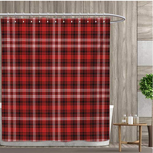 smallfly Plaid Shower Curtains Waterproof Nostalgic Striped Pattern from British Country with Constrasting Colors Fabric Bathroom Decor Set with Hooks 60