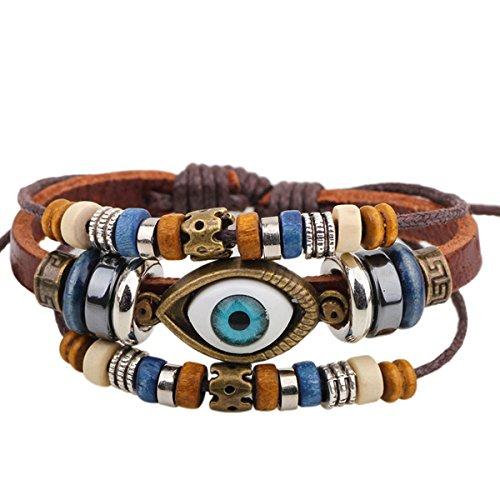 Gilind Vintage Charm Multilayer Woven Wrap Evil Eye Adjustable Leather Bracelet Unisex + Gift Bag ()