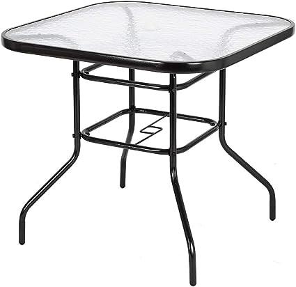 Rectangle Glass Top Table Garden Outdoor Patio Bistro Coffee Tables Parasol Hole