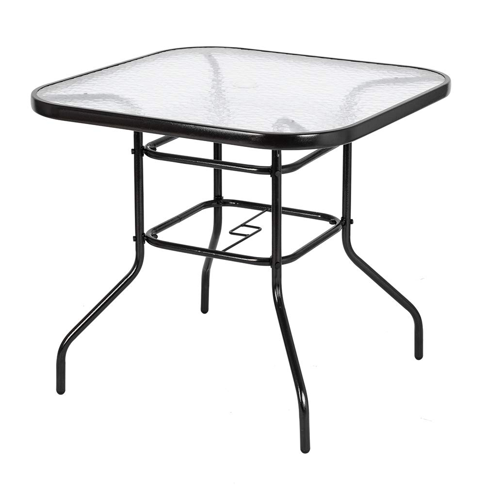 VINGLI Outdoor Dining Table, 32'' Square Patio Bistro Tempered Glass Table Top with Umbrella Hole, Outside Banquet Furniture for Garden Pool Side Deck Lawn by VINGLI
