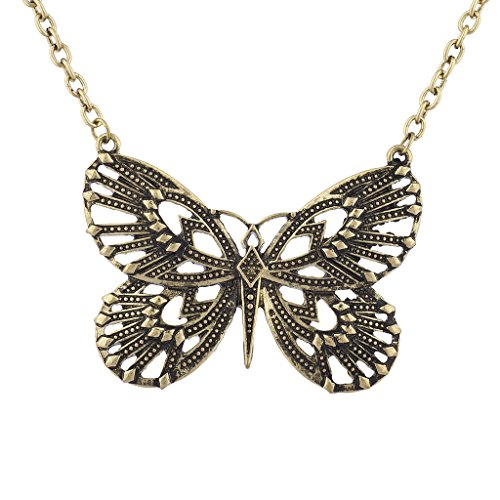 Lux Accessories burnished Gold Boho Butterfly Novelty Bohemian Jewelry Necklace (Burnished Gold Finish Pendants)