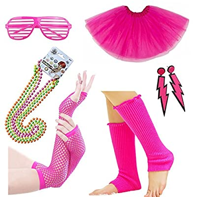 Womens 80s Costume Accessories Fancy Outfit Dress for 1980s Theme Party Supplies, Adult Size