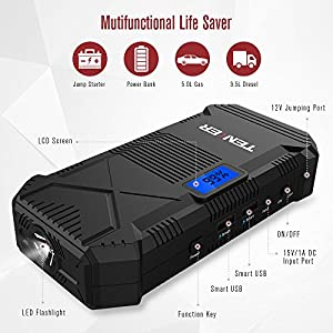 TENKER 600A Peak 14000mAh Portable Car Jump Starter (for 5.0L Gas/ 3.5L Diesel Engine), Emergency Battery Booster Pack, Power Bank Portable Charger with 2 Smart USB Ports, LCD Screen & LED Flashlight