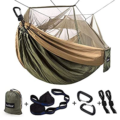 Single & Double Camping Hammock with Mosquito/Bug Net, 10ft Hammock Tree Straps and Carabiners, Easy Assembly, Portable Parachute Nylon Hammock for Camping, Backpacking, Survival, Travel & More: Sports & Outdoors