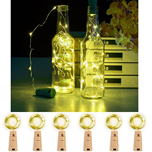 JIDI Set Of 6 PCS Fairy Bottle Cork Lights-2M/78 Inches Silver Wire 20LEDS Fairy String Lights Warm White Battery Powered Bottle Lights With Screwdriver