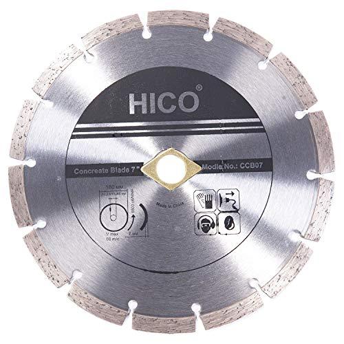 HICO 7 Inch Diamond Blade Concrete Grinding Stone Brick Ceramic Tiles Dry Wet Cutting Segmented General Purpose Premium, Fits 5/8