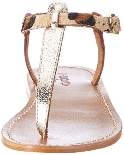 Inuovo 7764, Chanclas para Mujer Mehrfarbig (Gold-Leopard-Cognac)