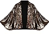 Qiangjinjiu Women's Fashional Sexy Sequins Bat Cape Outerwear Suit Jacket Golden S