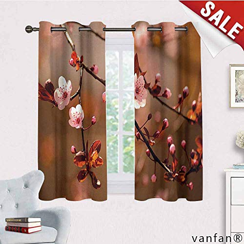 LQQBSTORAGE Nature,Curtains Sliding Glass Doors,Cherry Blossom Sakura Tree Branches Flowering Japanese Flourishing Print,Curtains for Kitchen,Pale Pink Dark ()