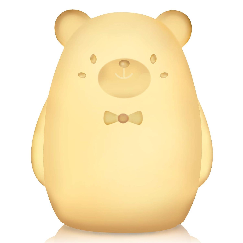 AM/_ SN/_ FA Bear Owl Shape LED Nursery Night Light Kids Baby Silicone Pat Color