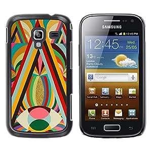 FECELL CITY // Duro Aluminio Pegatina PC Caso decorativo Funda Carcasa de Protección para Samsung Galaxy Ace 2 I8160 Ace II X S7560M // Vibrant Gold Colors Red Eye Lines Pattern