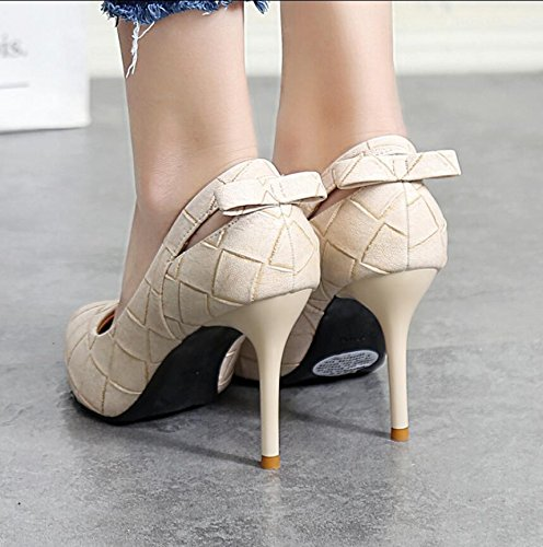 The Shoes Grid Is High 37 Bow Light 9Cm Shoes White Heel Single With Tie Exposed Sweet Stylish Tip KHSKX Fine CwBRZqxx