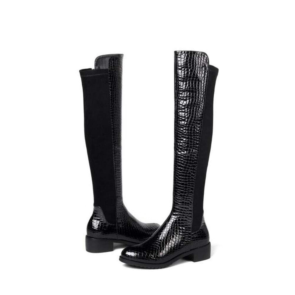 YaXuan Ladies Boots Womens Low Heel Boots Stone Pattern Side Zipper Martin Boots Womens Autumn and Winter Boots Stretch Over The Knee Boots Color : Black, Size : 34