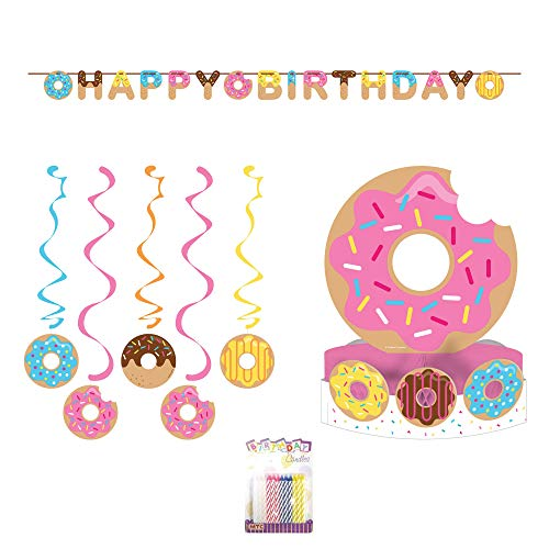 Donut Birthday Party Decorations Supplies Pack: Centerpiece, Banner, Swirl Danglers, and Birthday Candles (Deluxe Bundle)