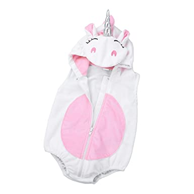 2a2a50ce99797 ranrann Pyjama Licorne Bébé Fille Garçon Barboteuse à Capuche Body  Combinaison Coton Doux 3D Grenouillères Ensemble